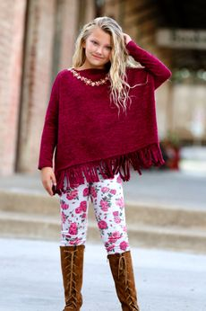 Little Mass 2pc Poncho fringe Tunic & Fall Roses Leggings Set