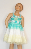 Little Mass Tulle Aqua/Lemon Girls Party Dress Silk Flowers 4t 4