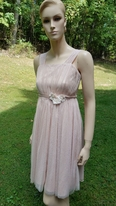 Little Mass Sparkly Beige & Gold Swiss Dot Tulle Dress w/Flower waist 10