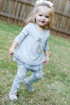 Little Mass Mini Baby Girl Silver & Grey 2pc Giraffe Tunic Set 6m