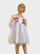 Little Mass Silk Blossoms Tulle Lilac & Grey Sparkle Dress 2T