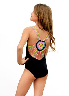 Little Pexoto 1pc Black Mona Swimsuit w/Colorful Crochet Back 12 14 16