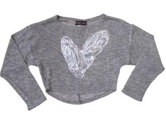 Lori & Jane Heather Grey Cropped Tween Top w/Silver Heart 8 14