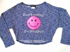 Lori & Jane Tween Blue Knit Cropped Sweater Top w/Smiley Face 7 8