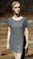 "Lost & Found Tween Girls ""Cold Shoulder"" SIlver Beaded Cocktail Dress 12 16"