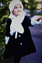 Mack & Co  Black Girls Coat w/Ivory Fox  Scarf  & Sequin Cuffs  4