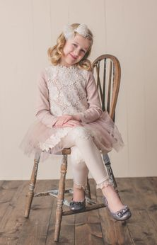 Mae Li Rose Flower Lace Ivory & Blush Long Sleeves Girls Dress 2T