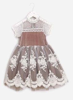 Mae Li Rose Mocha & Ivory Toddler/Little Girls Dress *Top Seller*
