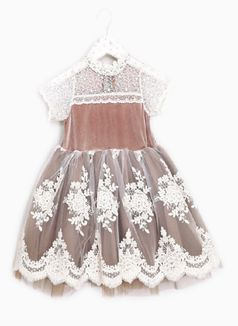 Mae Li Rose Mocha & Ivory Toddler/Little Girls Dress 3T 4/5