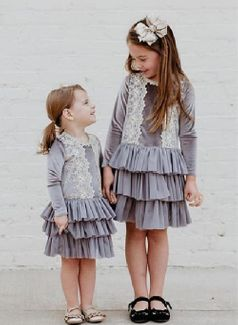 Mae Li Rose Charcoal & Gold Long Sleeves Tutu Dress *Top Seller*