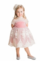 Mae Li Rose Pink & Ivory lace Darling Girls  Dress