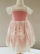 Mae Li Rose Pink & Ivory lace Darling Girls  Dress 18/24m 2t 3t