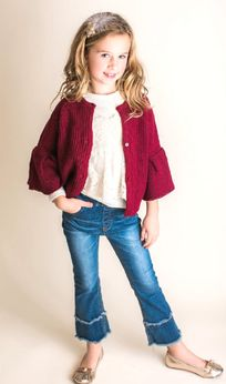 Mae Li Rose Super Cute Burgundy Gilrs Cardigan/Sweater 6/7 8