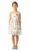 Mama Luma Ecru Butterfly Lilly Girls Dress 5/6 9/10