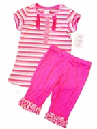 LIPSTIK Girls Adorable 2pc Hot Pink Ruffle Tunic & Biker Shorts sz 4