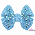 Melina's Bowtique Light Blue Structured Sparkly Girls Bow Clip