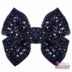 Melina's Bowtique Navy Structured Sparkly Girls Bow on Clip