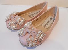 Mia Belle Baby Beautiful Dusty Pink Girls Shoes w/Pearl Bow 9 Last 1