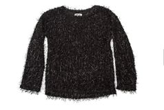 Mia Black Metallic Black Eyelash Girls Sweater 7/8