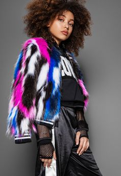 Mia NY Colorful Multi Faux Fur Girls Jacket *Top Seller* 12