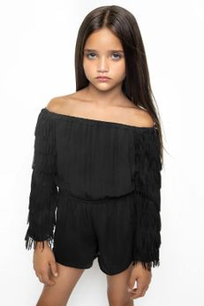 Mia New York Black Tween Fringer Romper Super XL 14