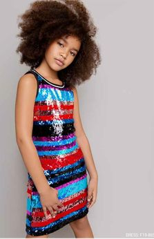 Mia New York Rainbow Sequin Stripes Fun Girls Dress *Top Seller*
