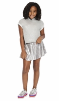 Mia New York Silver Pleated Fabric Girls Skort/Shorts 12 14/16