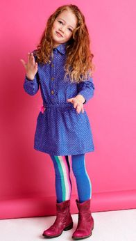 Mim-Pi Blue Long Sleeves Girls Dress w/Collar 6 8 9 10