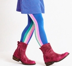 Mim-pi Girls Tights Blue w/Stripe Sides Last 1