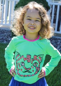 MIM-PI Green Cat face Long Sleeves Tee 2