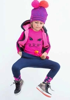 MIM-PI Hot Pink Cat Face Long Sleeves Tee/Shirt  2 4