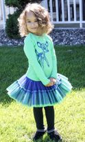 "MIM-PI ""Living in a Box"" Blue & Green Tulle Ruffle Skirt & Top  3T"