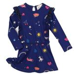 Mim-Pi Navy Long Sleeves Girls Dress w/Fun Unicorns 8 9