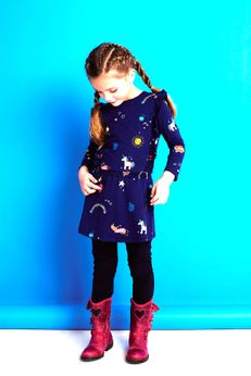 Mim-Pi Navy Long Sleeves Girls Dress w/Fun Unicorns sz 9 lk 8