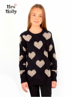 Mini Molly Black iridescent Hearts Fuzzy Sweater