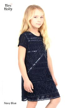 Mini Molly Navy Beaded Girls Party Dress 6/8 10/12 12/14
