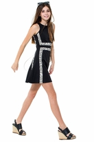 Miss Behave Claire Color Block Snake Inset Skater Dress
