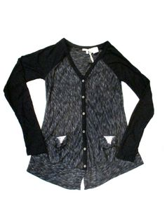 Miss Me Black Long Sleeves Sequined Design Button Down top 7/8 12/14