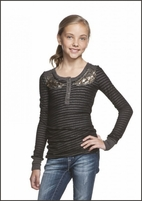 Miss Me Striped 2-tone Tween Top w/Sequin Pattern  14