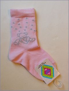 MP Pink Silver Dots & Teddy Bear Girl's Socks Infant 2/3 4/5