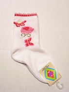 MP Tights Sweet White Girl's Socks w/Pink Flower & Butterflies