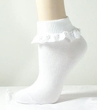 MP White Lace Eyelet Cuff GIrl's Socks 19/21 4/5 INFANT