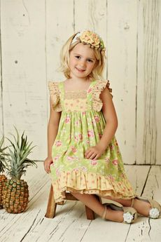 Mustard Pie 2pc Andalusia Tangerine Girls Dress & Headband 24m