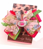 """My Vintage Baby """"Garden Party"""" Green & Pink Hair Bow"""