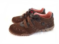 Naturino Adorable Brown Suede & Leather Velkro Girl's Sneakers 7Tdlr 9.5 1Yth