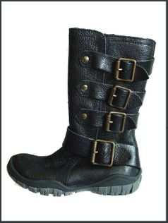 Naturino Tall Black Leather Boots w/Buckles & Zipper sz 4 Youth