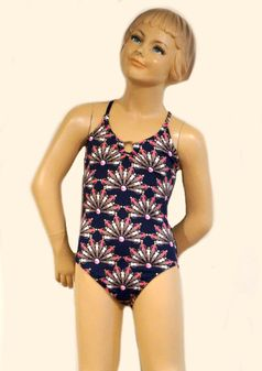OndadeMar 1pc Navy Tween Girls Swimsuit w/Beach Girls 10 lk 7/8