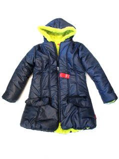 One Kid Navy & Citrus  Tween Girls Coat 8