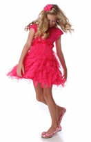 One Posh Kid Razzle Dazzle Cascading Ruffles Hot pInk Dress 12m