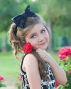 Ooh La La Couture Black Satin Girls headband with Bow